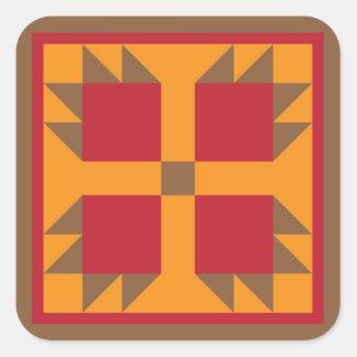 Bear Paw Quilt Block (brown, red, orange) Square Sticker
