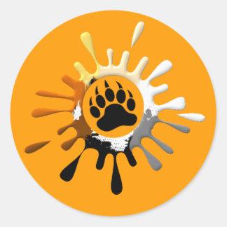 Bear Paw Splash Bear Pride Colors Round Sticker