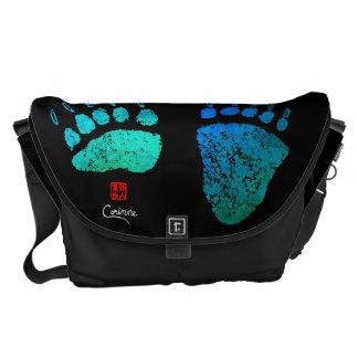 Bear Paws In Blue/Green - Large Messenger Bag