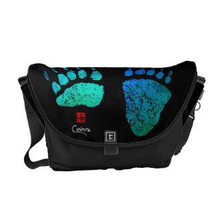 Bear Paws In Blue/Green - Medium Messenger Bag