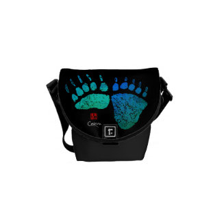 Bear Paws In Blue/Green - Mini Messenger Bag
