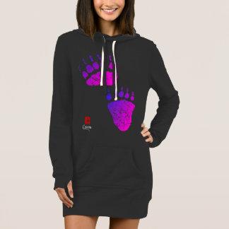 Bear Paws In Pink/Purple - Hoodie Dress