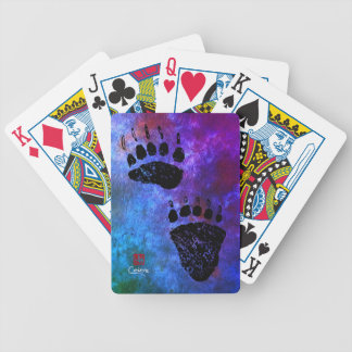 Bear Paws On Blue - Bicycle Playing Cards