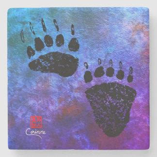 Bear Paws On Blue R - Marble Coaster