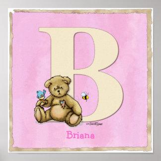 Bear pink poster ABC print