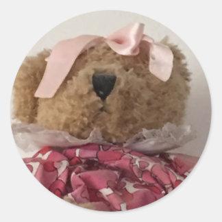 Bear pink round sticker