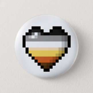 Bear Pixel Heart 2 Inch Round Button