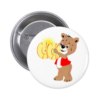 bear playing cymbals red shirt.png 2 inch round button