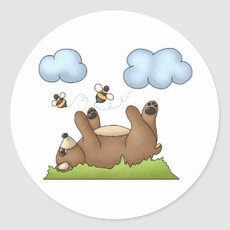 Bear Playing in Grass Classic Round Sticker