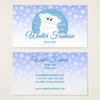 Bear Polar Couple Love Cute Winter Fashion Snow Business Card