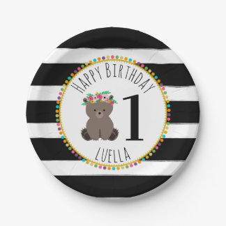 Bear Pompom Stripes Birthday Paper Plate