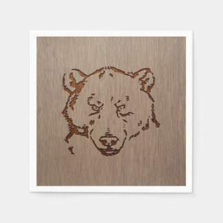 Bear portrait engraved on wood design paper napkins