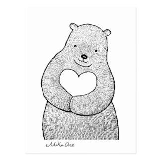 Bear Postcard Bear I love you Card Cute Bear art
