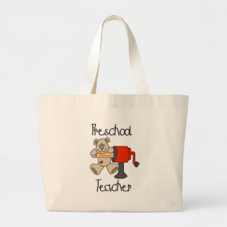 Bear  Preschool Teacher Tshirts and Gifts Large Tote Bag