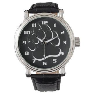 Bear Pride Black and White Bear Paw Wrist Watch