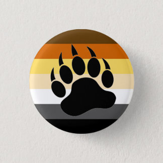 Bear Pride colors stripes Bear Paw 1 Inch Round Button