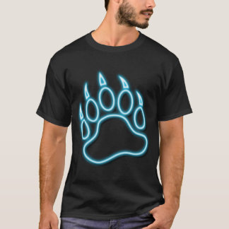 Bear Pride GLOWING !! NEON BLUE BEA PAW T-Shirt