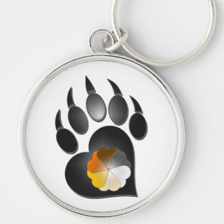 Bear Pride Heart Paw Silver-Colored Round Keychain