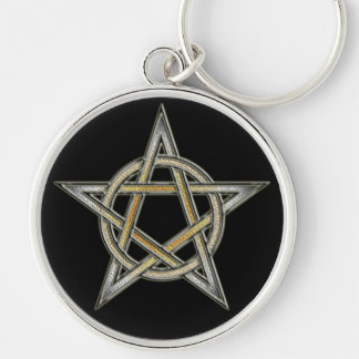 Bear Pride Pentagram circle Interlaced Silver-Colored Round Keychain