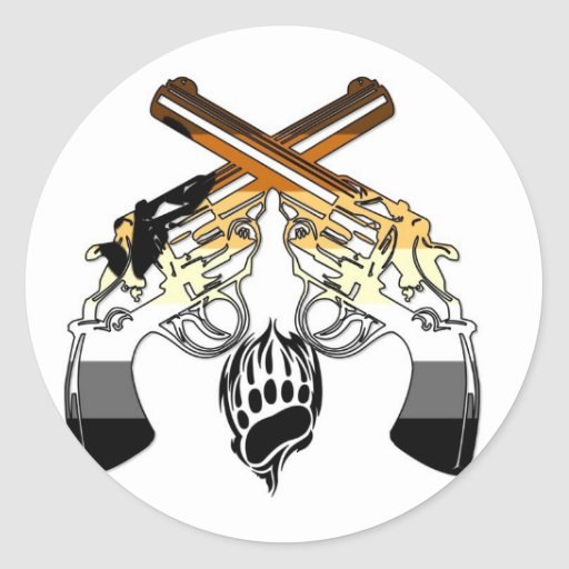 Bear Pride Pistols Round Stickers