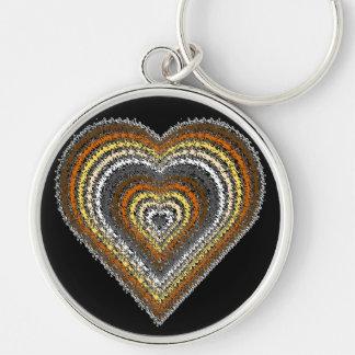 Bear Pride Splash Heart Silver-Colored Round Keychain