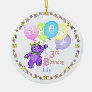 Bear Princess 3rd Birthday Keepsake Ceramic Ornament
