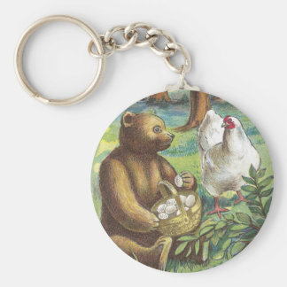Bear Puts Hen's Eggs in Basket Vintage Easter Basic Round Button Keychain