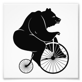 Bear Riding Vintage Bike Art Photo