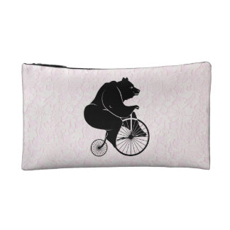 Bear Riding Vintage Bike Cosmetics Bags