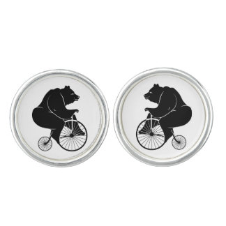 Bear Riding Vintage Bike Cufflinks