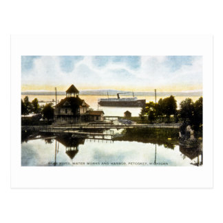 Bear River, Water Works and Harbor, Petoskey, Mich Postcard