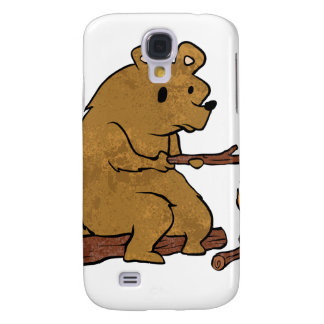 bear roasting marshmallows