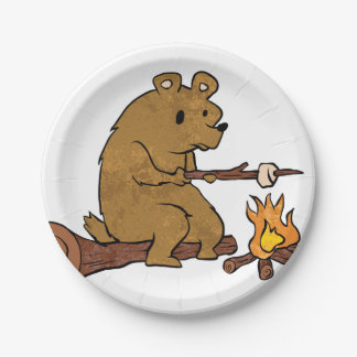 bear roasting marshmallows 7 inch paper plate