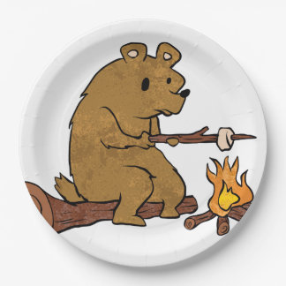 bear roasting marshmallows 9 inch paper plate