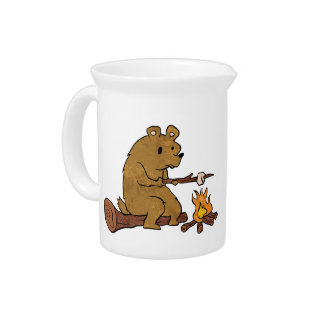bear roasting marshmallows beverage pitchers