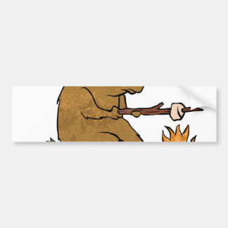 bear roasting marshmallows bumper sticker