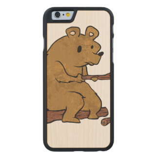 bear roasting marshmallows carved® maple iPhone 6 case