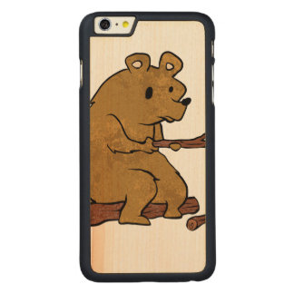 bear roasting marshmallows carved® maple iPhone 6 plus case