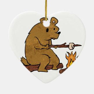 bear roasting marshmallows ceramic heart ornament