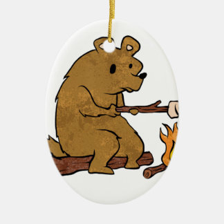 bear roasting marshmallows ceramic oval ornament