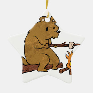 bear roasting marshmallows ceramic star ornament