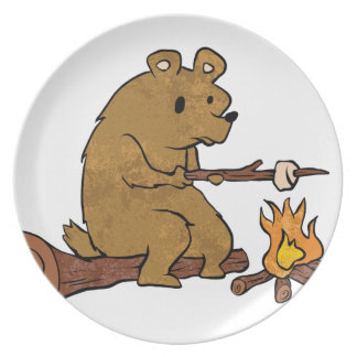 bear roasting marshmallows dinner plate