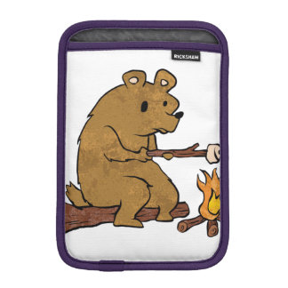 bear roasting marshmallows iPad mini sleeve