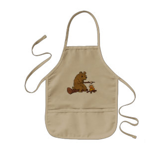 bear roasting marshmallows kids apron