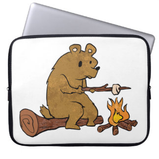 bear roasting marshmallows laptop computer sleeve