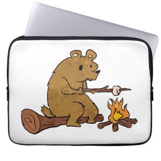bear roasting marshmallows laptop computer sleeves