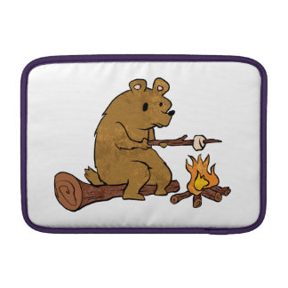 bear roasting marshmallows MacBook sleeve