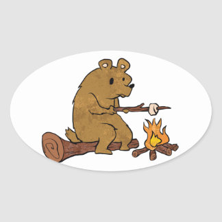 bear roasting marshmallows oval sticker