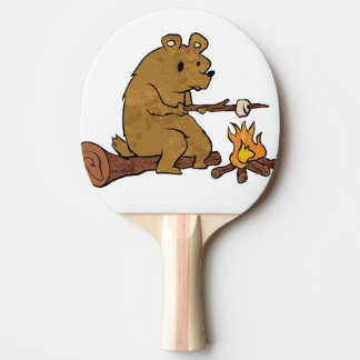 bear roasting marshmallows Ping-Pong paddle