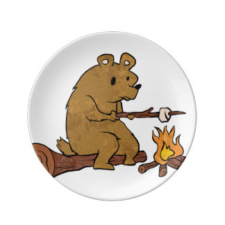 bear roasting marshmallows porcelain plates